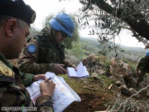 U.N. troops patrol the area in Lebanon believed to be the source of rockets fired into Israel.
