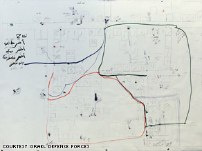 The Israel Defense Forces says this map from Hamas shows positions of booby traps and snipers in Al-Attara.