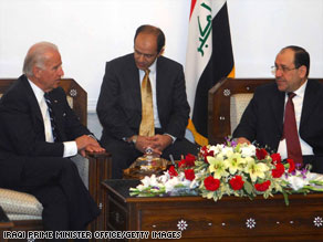 Vice President-elect Joe Biden meets with Iraqi officials, including Prime Minister Nuri al-Maliki, in Baghdad.