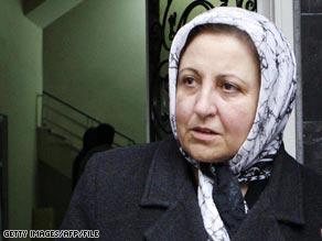 Nobel winner Shirin Ebadi in December leaving the building where arrested Jinous Sobhani used to work.