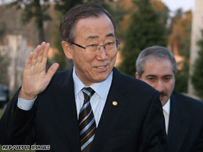 U.N. Secretary General Ban Ki-moon arrives for a meeting with Jordan's King Abdullah II in Amman.