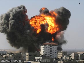 An explosion seen after an Israeli airstrike on Rafah earlier this week.