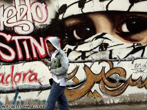 A pro-Palestinian mural in the Venezuelan capital, Caracas.