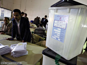 Provincial election ballots are sorted during a tally Thursday in Baghdad, Iraq.