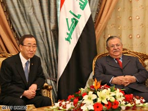 U.N. Secretary-General Ban Ki-moon, left, meets Friday in Baghdad with Iraq President Jalal Talabani.