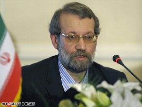 "Ali Larijani says the United States' new president has created ""some small windows of light toward the East."""