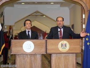 French President Nicolas Sarkozy and Iraq's PM Nuri al-Maliki.