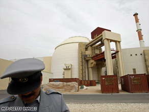 An Iranian technician works Wednesday at the water purifying facility in the Bushehr plant.