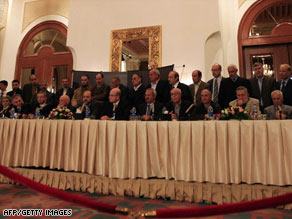 Leaders of rival Palestinian factions discuss the results of reconciliation talks in Cairo, Egypt, on Thursday.