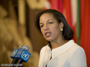 "U.S. Ambassador to the United Nations Susan Rice said the U.S. will try to end Iran's ""support for terrorism."""