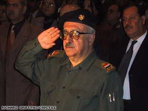 Tariq Aziz, seen in 2002, was sentenced Wednesday to 15 years in jail for crimes against humanity.