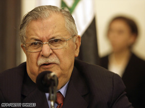 Jalal Talabani says he will not run for Iraq's president again, but he plans to stay in the political arena.