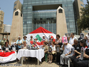 The families of Lebanese prisoners held in Syria protest outside the United Nations offices in Beirut last year.