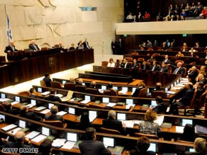 Benjamin Netanyahu, top left, presents his government in the Israeli parliament Tuesday in Jerusalem.