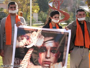 Iraqi Kurds mark International Day for the Elimination of Violence Against Women in November 2008.