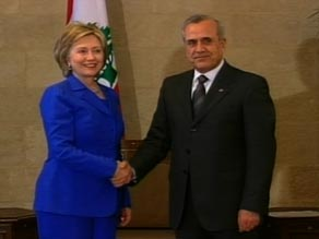 Lebanon President Michel Sleiman greets U.S. Secretary of State Hillary Clinton on Sunday.