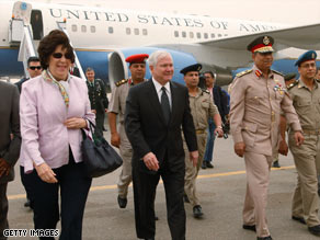 U.S. Defense Secretary Robert Gates arrives in Cairo, Egypt, on Monday.
