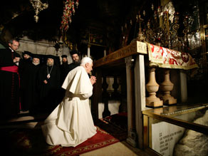 Benedict meets with religious leaders at the Basilica of the Annunciation in Nazareth, Israel.