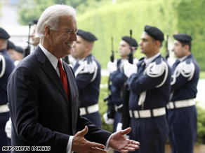 Vice President Joe Biden arrives Friday at the presidential palace outside Beirut, Lebanon.