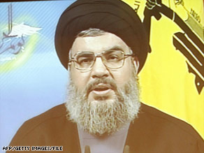 Hezbollah leader Hassan Nasrallah gives a televised address in January.