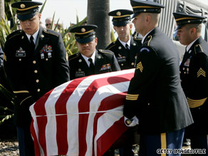 U.S. soliders carry the coffin of Capt. Brian Freeman, one of five soliders dead after a 2007 attack in Karbala, Iraq.