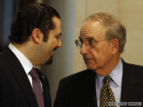 U.S. envoy George Mitchell, right, visited with Lebanese officials, including parliamentary majority leader Saad Hariri.