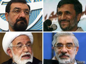 Candidates, clockwise, are: Moshen Rezaie, Mahmoud Ahmadinejad, Mir Hossein Moussavi and Mehdi Karrubi.