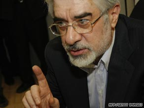 President Ahmadinejad said he could not guarantee the safety of his rival, Mir Hossein Moussavi, pictured.