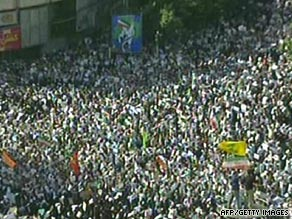 Iranian opposition supporters protest in Tehran on Monday in the largest demonstrations there in 30 years.