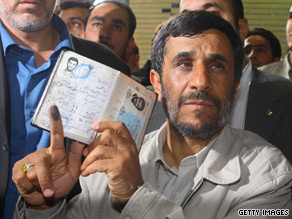 Incumbent Iranian President Mahmoud Ahmadinejad casts his vote in Tehran last week.