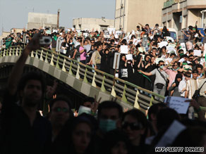 Moussavi supporters rally Wednesday in Tehran, Iran. Released by Fars News Agency of Iran.