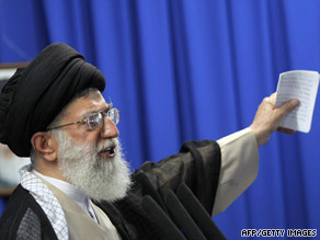 Ayatollah Ali Khamenei speaks to a crown in Tehran during Friday prayers.