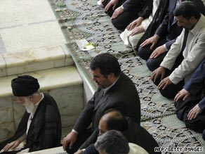 Iranian clerics listen to Grand Ayatollah Ali Akbar Khamenei at Tehran University.