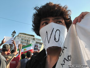 A supporter of Iran's defeated presidential candidate Mir Hossein Mousavi protests in Athens on June 23.