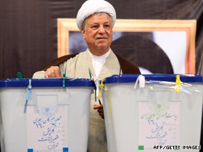 Ex-President Ali Akbar Hashemi Rafsanjani, shown here voting in Iran on June 12, says trust has been eroded.
