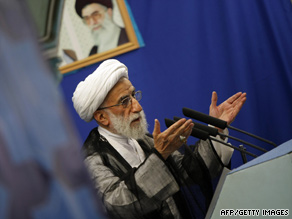 Ayatollah Ahmad Jannati speaks at Friday prayers in Tehran, saying some UK Embassy staff will be put on trial.