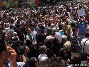 Protesters in Tehran linger after powerful cleric Ali Akbar Hashemi Rafsanjani ended his Friday prayers.