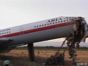 Aryan Airlines Flight 1625 skidded off the runway and burst into flames Friday in Mashhad, Iran.