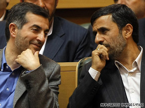 Esfandyar Rahim Mashaie, left, has a daughter who is married to Mahmoud Ahmadinejad's son.