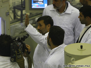 Iranian President Mahmoud Ahmadinejad tours the nuclear fuel processing plant in Isfahan in April.