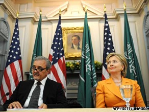 Foreign Minister Saud Al-Faisal and Secretary of State Hillary Clinton talk to the media Friday.