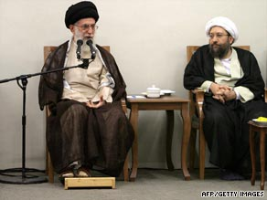 Ayatollah Ali Khamenei speaks during the announcement  that Sadeq Larijani, right, will head Iran's judiciary.