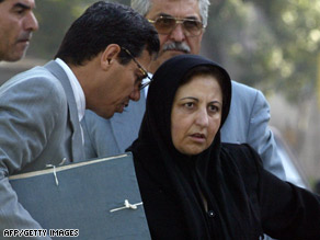 Attorneys Abdolfattah Soltani, left, and Shirin Ebadi, shown in Tehran in 2004.