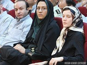 French national Clotilde Reiss, right, and British embassy worker Hossein Rassam, far left, in court.