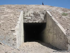 The underground bunkers, though still recognizable, were destroyed by U.S. air attacks.