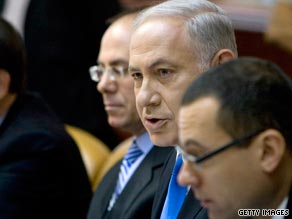 Israel's Prime Minister Benjamin Netanyahu at his government's weekly cabinet meeting September 6, 2009