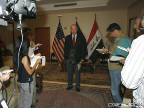 Vice President Joe Biden talks to the media Tuesday in Baghdad's fortified International Zone.