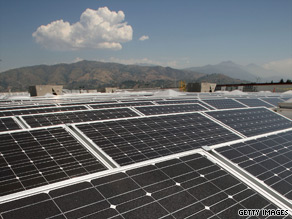 Solar panels similar to these are bringing renewable and regular power to two clinics in Iraq.