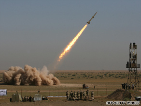 A short-range missile is test-launched during war games in Qom, Iran, south of Tehran, on Sunday.