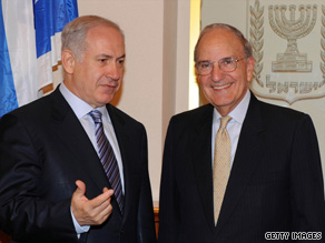 Israeli Prime Minister Benjamin Netanyahu, left, confers with U.S. envoy George Mitchell on Friday in Jerusalem.
